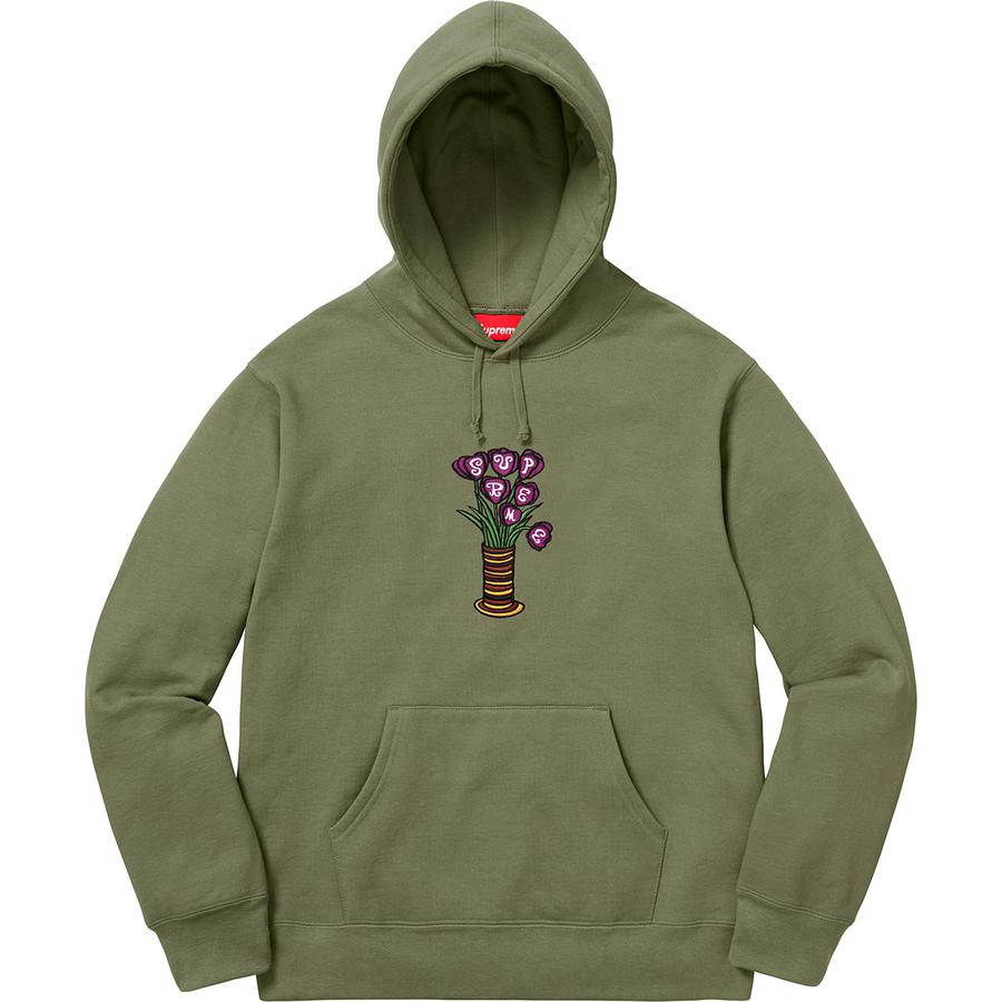 Supreme Flowers Hooded Sweatshirt Light Olive Novelship And Sneakers Streetwear 100 Authentic