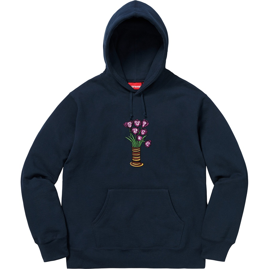 Supreme Flowers Hooded Sweatshirt Navy