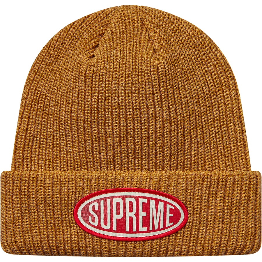 d96bf1f089492 Supreme Oval Patch Beanie Gold