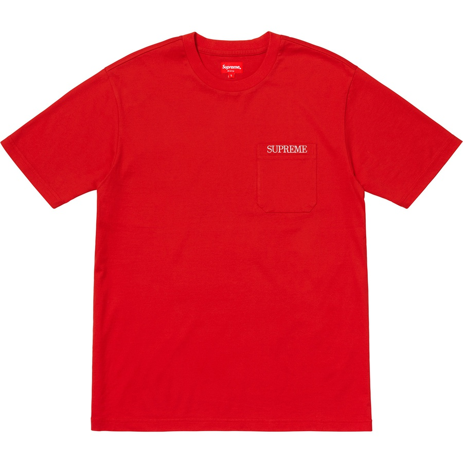 13559d83 Supreme Embroidered Pocket Tee Red   Novelship: Buy and Sell Sneakers,  Streetwear, 100% Authentic