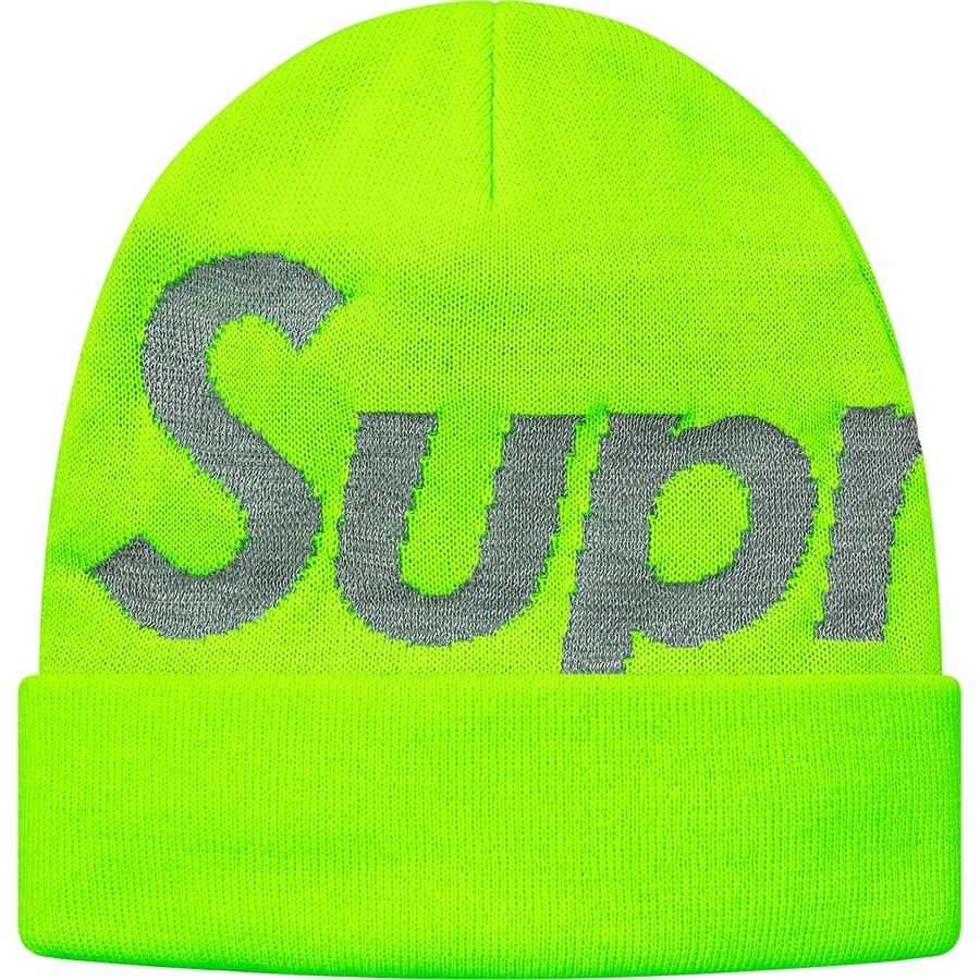 Supreme Reflective Big Logo Beanie Bright Green  9da27124fb8
