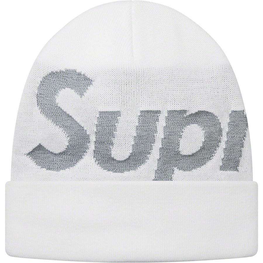 42e8e054 Supreme Reflective Big Logo Beanie White   Novelship: Buy and Sell  Sneakers, Streetwear, 100% Authentic