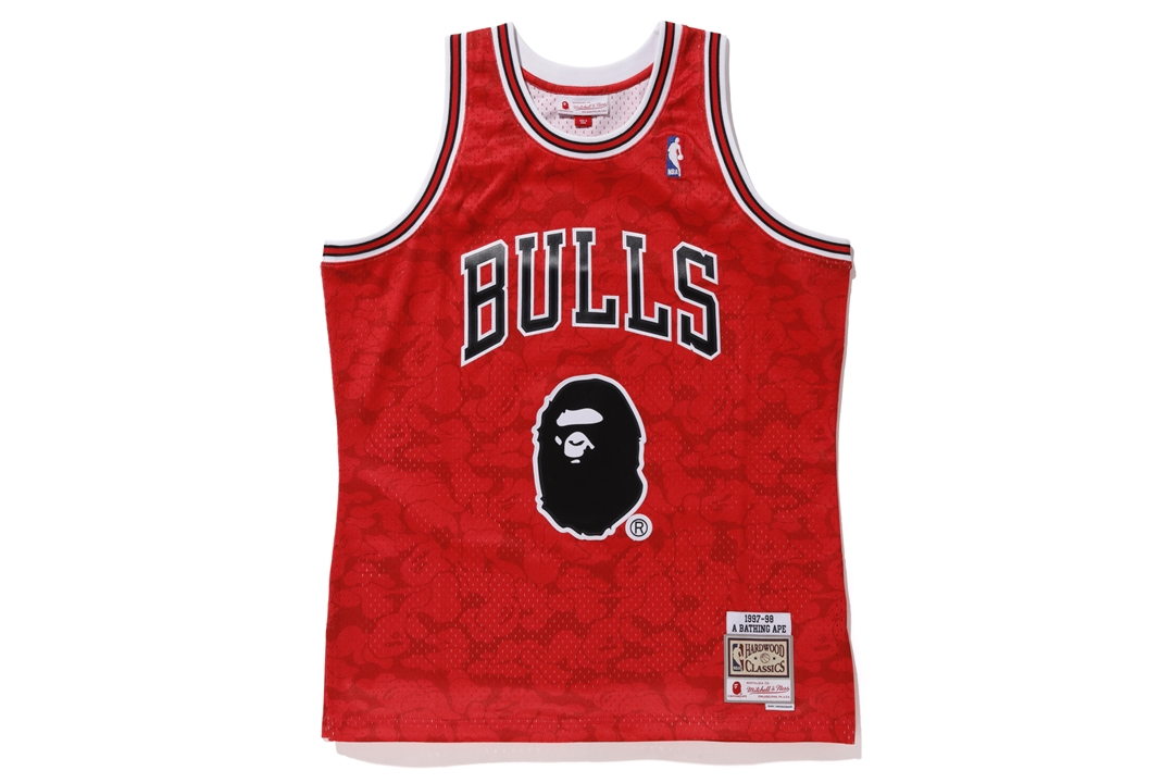 394b226e8 Bape Mitchell   Ness Bulls ABC Basketball Swingman Jersey Red ...