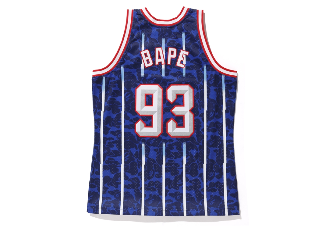 84b51e2af010 Bape Mitchell   Ness Rockets ABC Basketball Swingman Jersey Navy ...
