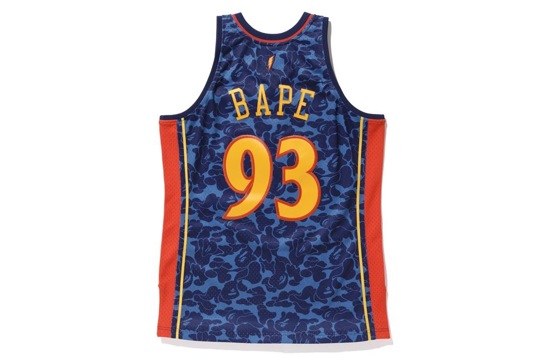 b0781f5c01c Bape Mitchell   Ness Warriors ABC Basketball Swingman Jersey Navy ...