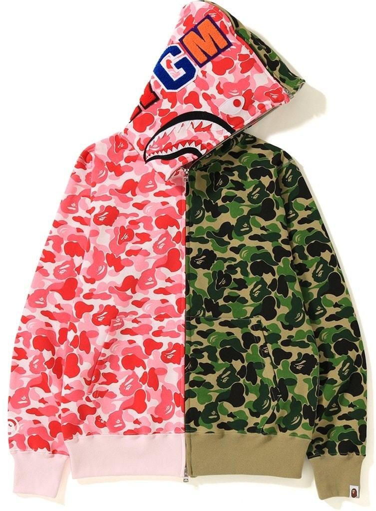 74afa423 Bape ABC Separate Shark Full Zip Hoodie Pink Green   Novelship: Buy ...