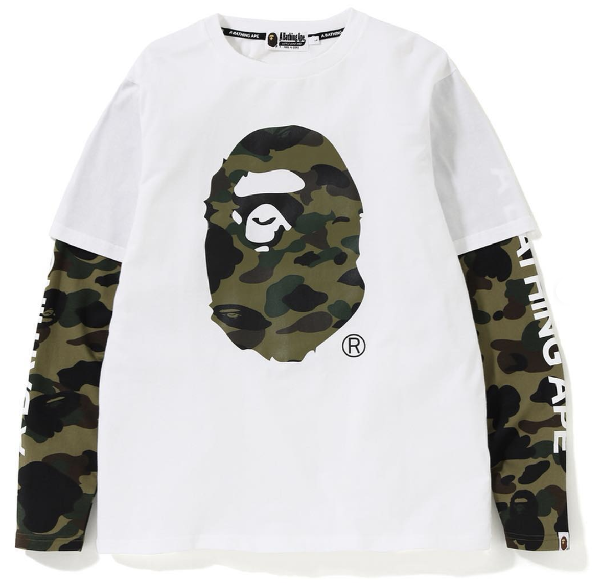 b7616a3f7 Bape 1st Camo Ape Head Layered LS Tee White   Novelship: Buy and Sell  Sneakers, Streetwear, 100% Authentic