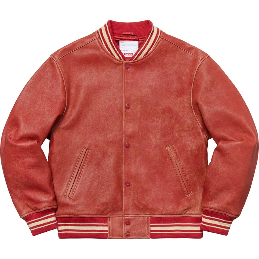 Supreme Leather Varsity Jacket Red Novelship And Sneakers Streetwear 100 Authentic