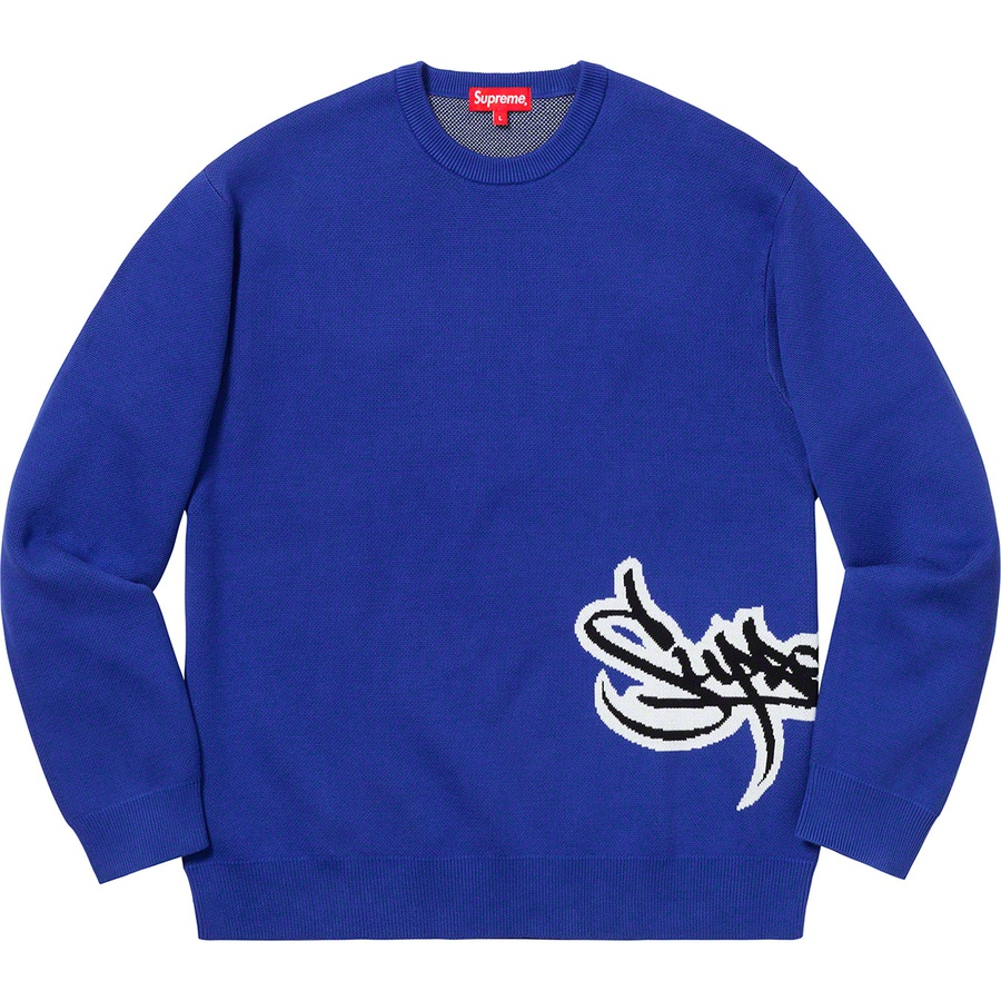 27f7db8573ca Supreme Tag Logo Sweater Royal