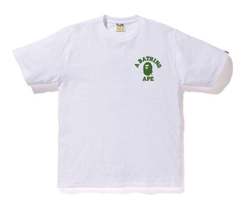 0b67210a9 Bape ABC College ATS Tee White Green   Novelship: Buy and Sell ...