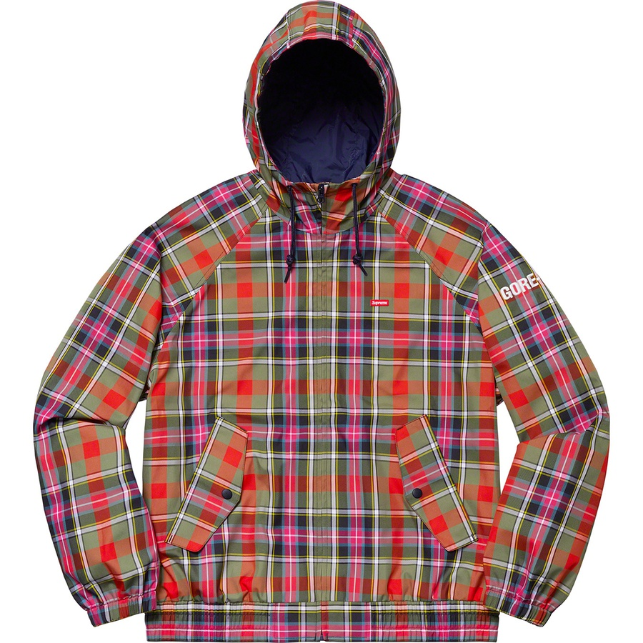 d3d337de957a19 Supreme GORE-TEX Hooded Harrington Jacket Olive Plaid
