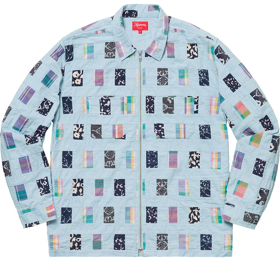 db517a02a Supreme Patchwork Zip Up Shirt Light Blue | Novelship: Buy and Sell ...