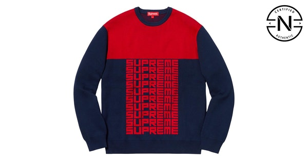 149b8eedebfb Supreme Logo Repeat Sweater Navy Red