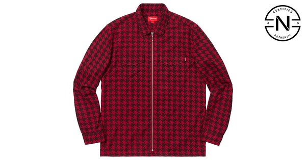 f54825b3f Supreme Houndstooth Flannel Zip Up Shirt Red | Novelship: Buy and Sell  Sneakers, Streetwear, 100% Authentic